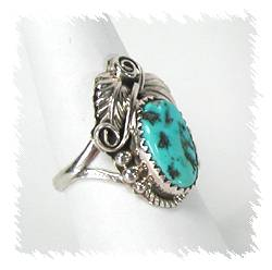 Sterling Silver and Turquoise Ring by Charlene Yazzie, Navajo