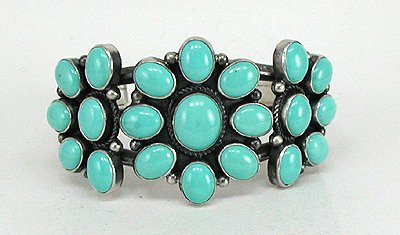 Turquoise and Sterling Silver Cluster Bracelet by Dean Brown, Navajo