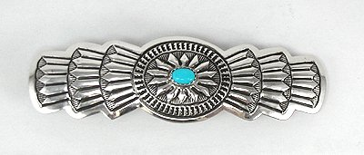 Navajo Sterling Silver and Turquoise Hair Clip