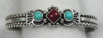 Native American Coral and Turquoise Bracelet by Albert Jake, Navajo