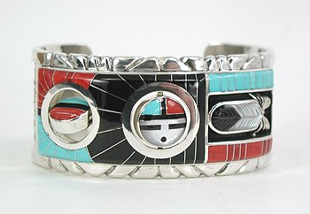 Inlay Double Spinner Bracelet by Don Carlos Dewa, Zuni