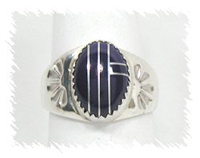 Sterling Silver and Lapis Inlay Ring by Navajo Annie Lincoln