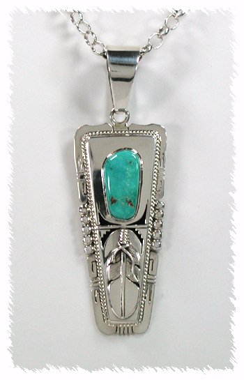 Sterling Silver and Turquoise Feather Pendant by Bennie Ration, Navajo