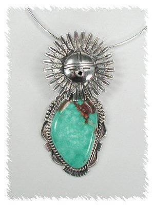 Sterling Silver and Turqoise Kachina Pendant by Bennie Ration, Navajo