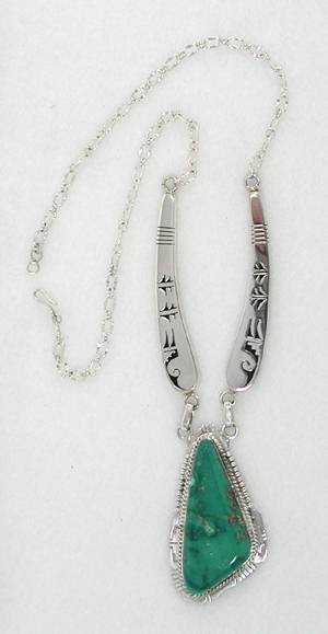 Fox Mountain Turquoise and Sterling Silver Necklace by Bennie Ration, Navajo
