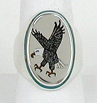 Eagle Inlay ring by Billy Begay, Navajo