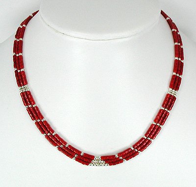Frank Ortiz Coral and Sterling Silver Necklace