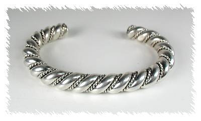 "1/2"" thick Sterling Silver Navajo twist bracelet"