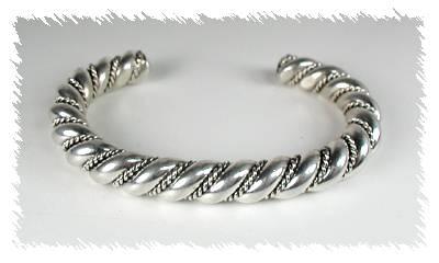 "1/2"" thick Sterling Silver Navajo twist bracelet"
