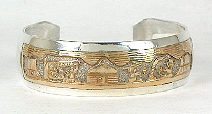 Storyteller bracelet by Tom and Sylvia Kee, Navajo