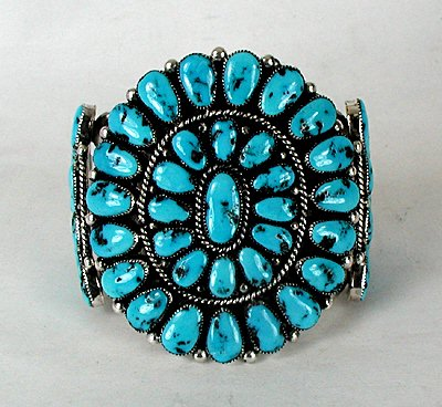 Native American Made Cluster Bracelet by Robert and Bernice Leekya, Zuni