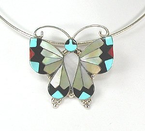 Zuni Inlay Butterfly Pendant by Allison Dishta