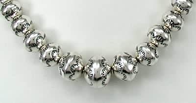 Stamped Navajo Pearls by Larry Pinto