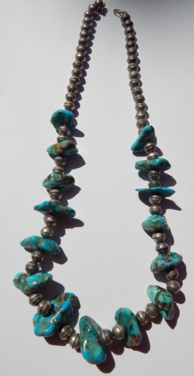 Bench bead and turquoise nugget necklace - likely Navajo made.