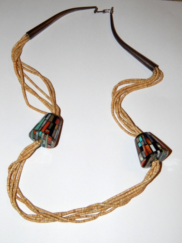 Melon shell and mosiac bead necklace - unknown origin