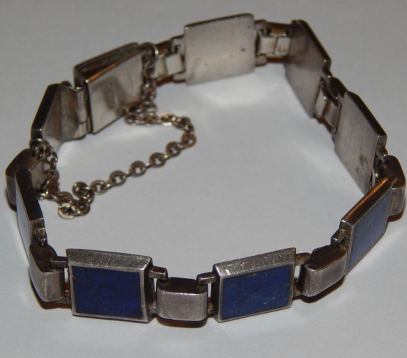 Silver and Lapis Link Bracelet - likley Mexican made