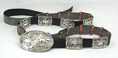 Sterling silver concho belt with copper belt loops.