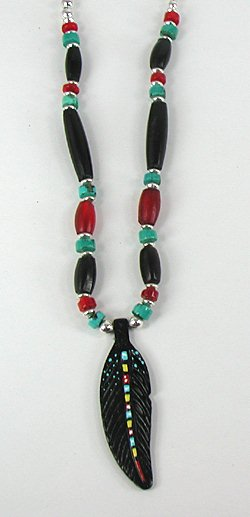 Raven Crow Feather Necklace by Apache artist Cynthia Whitehawk