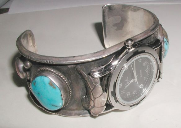 Vintage Cuff with black faced quartz watch - stem is now functional
