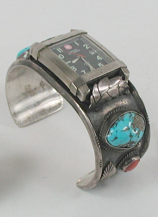Vintage watch cuff with Wenger Stainless Steel Timepiece