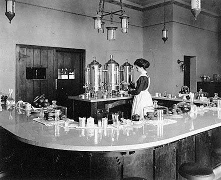 A Harvey Girl in a Harvey House lunchroom in the early 1900s