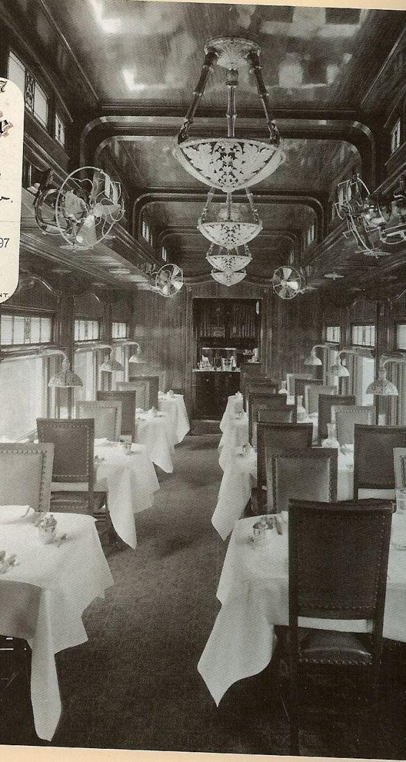 Santa Fe Railway dining car interior - 1890
