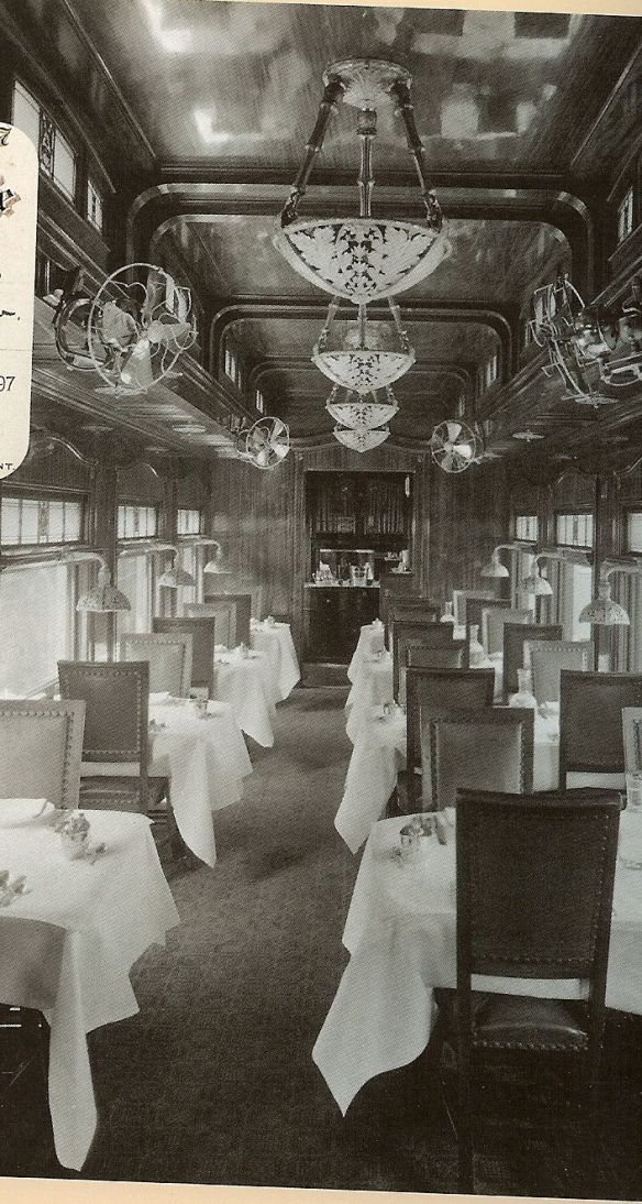 Santa Fe Railway dining car interior - 1890
