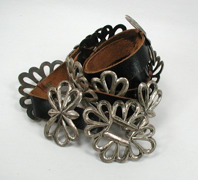 Early Sterling Silver Sandcast Concha Belt