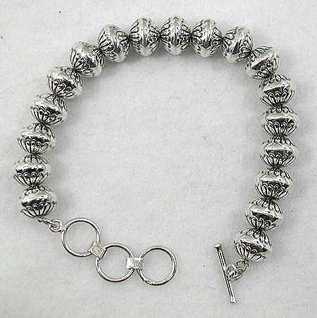 Sterling Silver Stamped Bead Link Bracelet by Navajo Marie Yazzie.
