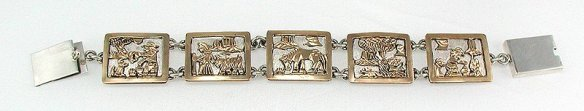 Larry Lincoln Navajo Sterling Silver and Gold Storyteller Link Bracelet
