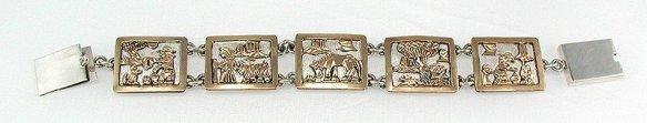 Larry Lincoln Navajo Sterling Silver and Gold Storyteller Link Bracelet