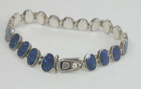 Lapis Link Bracelet stamped 950 (greater silver content than Sterling) with box latch and safety clasp.