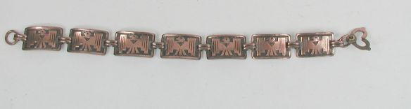 Copper Thunderbird Link Bracelet - Fred Harvey Era but no markings