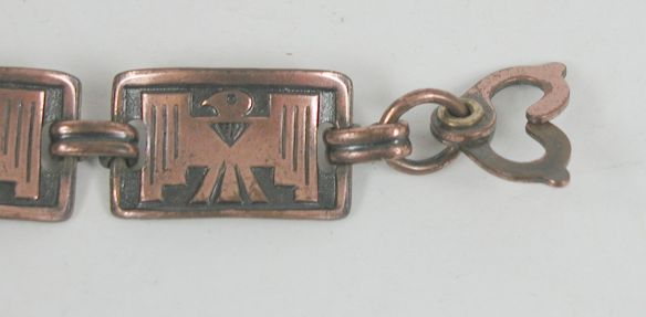 Sister (Scissor) Clasp on vintage copper Thunderbird Link Bracelet