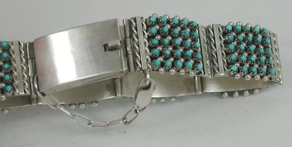 Stephen Haloo, Zuni Snake Eye Link Bracelet with safety chain and lobster claw clasp