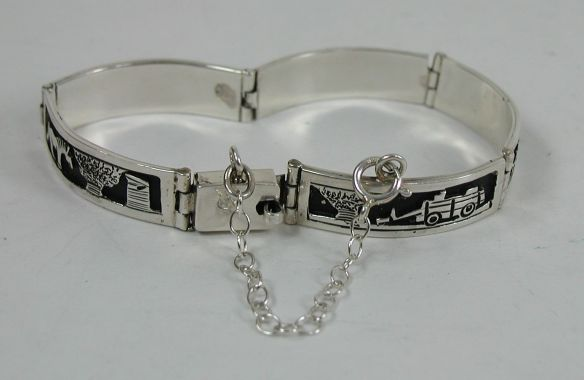 Tillie Jon, Navajo Storyteller Overlay Link Bracelet with Safety Chain, Spring Ring Clasp
