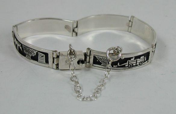 Tillie Jon, Navajo Storyteller Overlay Link Bracelet with Safety Chain, Spring Ring Clasp