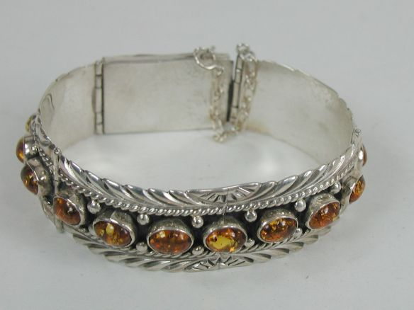 Yazzie Navajo Link Cuff Bracelet with Amber
