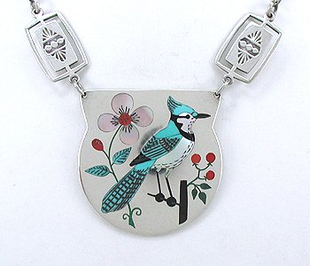 Blue Jay pendant necklace by Ruddell and Nancy Laconsello