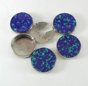 Contemporary Southwest Style Azurite Button Covers