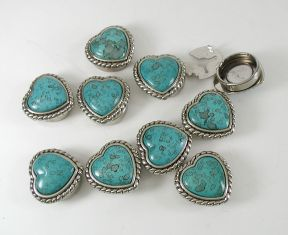 Contemporary Southwest Style Turquoise Heart Button Covers