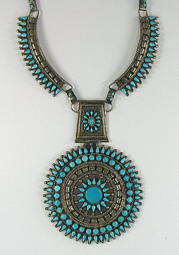Native American Bear Turquoise Howlite Pendant Sterling Silver D-1935